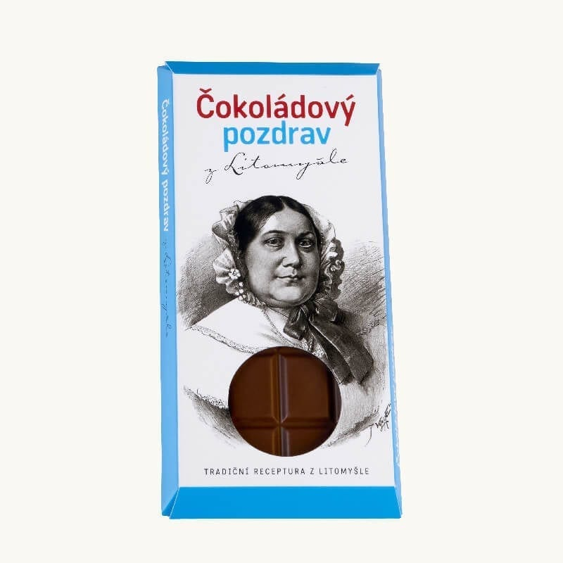 Čokoláda balená v papírovém obalu s portrétem Boženy Němcové
